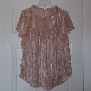 Loft short sleev pink velvet top NWT
